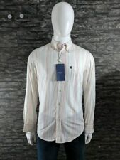 Trussardi Cotton Shirt White with Red & Green Stripes BNWT RRP £80 Size L