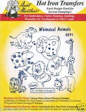 Whimsical Zoo Animals Aunt Martha's Hot Iron Embroidery Transfer Patterns #3891
