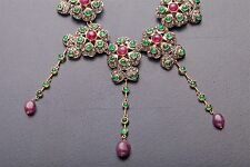 "Designer $10,000 150ct Ruby Emerald Diamond 14k Yellow Gold 20"" Dangle Necklace"