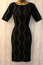 Karen Millen Diamond Stripe 3/4 Sleeve Bandage Stretch Bodycon Knit Dress 8 36