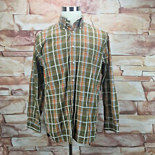 Tommy Hilfiger Mens 80's 2 Ply Button Medium Casual Plaid Shirt Brown Orange A27