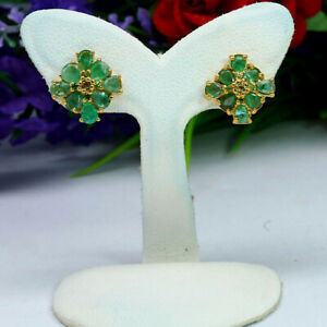 NATURAL GREEN EMERALD WITH PERIDOT EARRINGS 925 STERLING SILVER