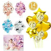 14pcs/set Wedding Birthday Balloons Latex Confetti Foil Kids Boy Girl Baby Party