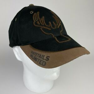 Whitetails Unlimited Hat - Adjustable Strap back -  Black and Brown Embroidered