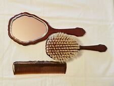 Vintage Hand Mirror, Comb & Brush Set