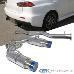 "For 08-15 Mitsubishi Lancer EVO 10 Titanium 4"" Burnt Tip Dual Catback Exhaust"