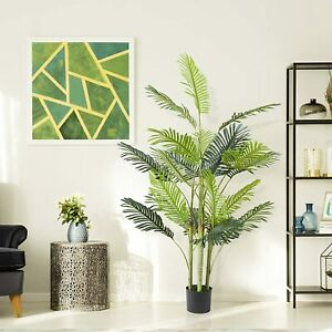 AECOJOY 5.6 ft Artificial Areca Palm Tree Fake Plant in Pot for Indoor/ Outdoor