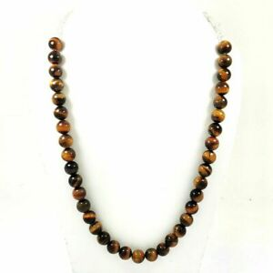 NATURAL BROWN TIGER'S EYE GEMSTONE 10 MM ROUND BEADS SILVER PLATED NECKLACE