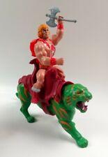 Vintage 1984 Thunder-Punch He-Man & 1981 Green Battlecat Axe MOTU Action Figures