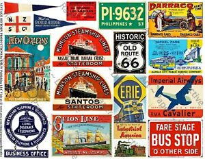 16 TRAVEL JOURNAL STICKERS & Vintage Label Art Ephemera, 1 Sheet, REPRODUCTIONS
