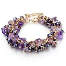 Stretch Natural Crystal Stone Chipped Raw Bracelet Women Quartz Bangle Jewelry
