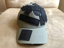 DSQUARED² MILITAR GREEN BLACK MULTI BEMBROIDERED PATCHES LOGO DISTRESSED HAT CAP