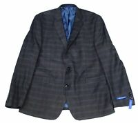 Vince Camuto Mens Blazer Gray Size 40 Long Plaid Slim Fit Two Button $360 121