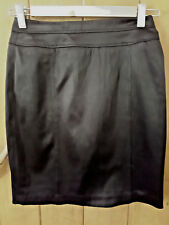 VALLEY GIRL Ladies Pencil SKIRT Above Knee Length Lined Shiny Black Size 6  VGUC