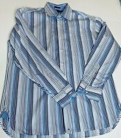 TOMMY HILFIGER Mens Shirt Button Down Striped White Sz L 80s 2 Ply Long Sleeve
