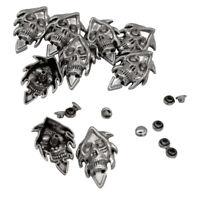 10Pcs Punk Gothic Skull Studs Spike Rivets for Leather Belt Craft Bag Decors