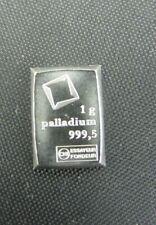 1 GRAM PALLADIUM .9995 VULCAMBI SUISSE BAR. LOOK! FREE SHIPPING!