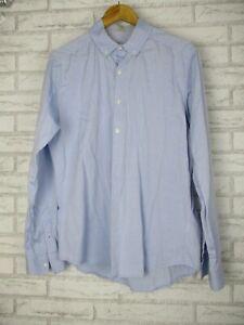 Jac + Jack Mens top shirt Long sleeve M Blue button collared
