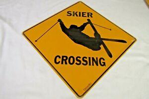 SKIER CROSSING Sign 12x12 Novelty Xing Crosswalks Metal Ski Skiing