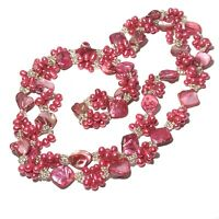 VINTAGE Dyed HOT PINK Pearl Shell BEAD NECKLACE Extra Long CHUNKY No Clasp