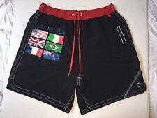 Vtg 90s Nautica USA Olympic Flag Swim Trunks Men's L Spell Out Logo Black RARE