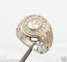 Size 9 Prong & Channel Set Filigree Ring with CZ Real 925 Sterling Silver 7.1gr