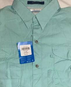 Columbia PFG Men's Light Green Short Sleeve Omni-Shade Shirt Sz L NWTS Bonehead