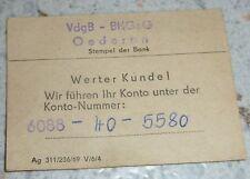 """DDR VdgB - BHGeG OEDERAN Beleg Mitgliedschaft Kontonummer """"VR-Bank der DDR"""" 1969"""