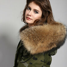 Winter Women's Real Raccoon Fur Collar Detachable Lining Jacket Hooded Coat