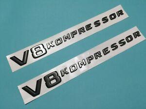 2 X PCS OF * V8 KOMPRESSOR * SIDE EMBLEM BADGE FOR BENZ Black Chrome