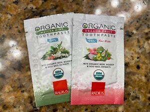 RADIUS Toothbrush Organic Tooth Paste Travel (Set of 2) Matcha Mint Dragon Fruit