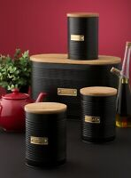 Typhoon Living Kitchen Tea Coffee Sugar, Bread Bin, Pasta Storage Tins - Black