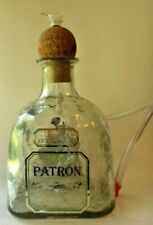 """Patron"" Heavy Glass Water Pipe with Hose/Hand-made with glass bowl and downtube"