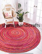 Braided Handmade Reversible Cotton Circle Rug Floor Round 7 Feet Area Rug Carpet