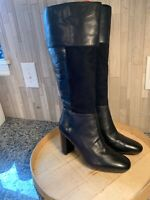 Isaac Mizrahi Live! 10M Leather & Suede Tall Boots with Embossing BLACK