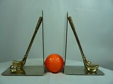 Golf Theme Metal Book Ends with Club and Ball  Brass color