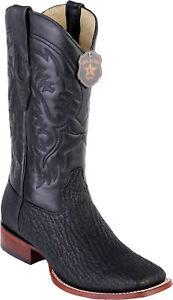 Los Altos BLACK Genuine SHARK Western Cowboy Boot Square Toe D