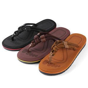Men Women Summer Beach Thong Flip Flops Braided Strap Sandals Anti-Slip Slippers