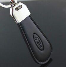 LG91 Black PU Leather Drop Keyring For Ford Car Logo Key Ring Keychain Gift