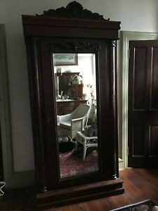 Antique Victorian Armoire, Mahogney Carved Man Mirror Embellishments1850-1899