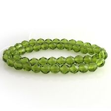 Vtg 100 PALE GREEN GIVRE FACETED FIRE POLISHED SPACER BEADS 6mm #011219j
