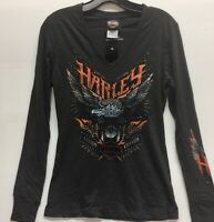 Harley-Davidson Women's Long Sleeve Bling Eagle v-neck thumb cuff shirt Large