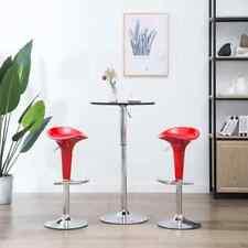 vidaXL 2x Bar Stools Plastic Red Kitchen Dining Furniture Pub Chair Seats