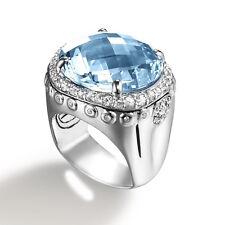 John Hardy Batu Bamboo Ring w/ Sky Blue Topaz & White Sapphire Size 7 - $1,395