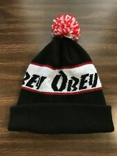 Black OBEY Pom Pom Ski Beanie Winter Knit Hat Skull Cap VGC Clean