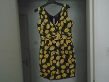 Yumi lemon patterned 1960's style cotton sleeveless dress M