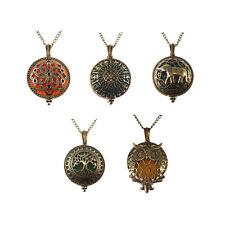 Locket Pendant Charm Necklace Diffuser 5pcs Mixed Vintage Bronze Brass Hollowed