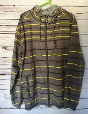 Rip Curl Jacket XL Zip Up Hoodie Men's Grey Yellow Black