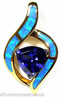 18K Gold Plated 925 Sterling Silver, Tanzanite & Blue Fire Opal Pendant Necklace