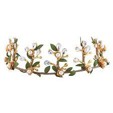 Pageant Baroque Crown Tiara Gold Half Hair Headdress Clear Rhinestone Leaf Green